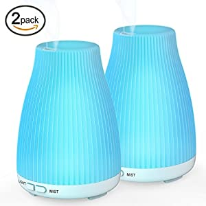 BAXIA TECHNOLOGY Essential Oil Portable Ultrasonic Cool Mist Humidifier, 8 LED Lights Waterless Auto Shut Off fo Aroma Diffuser, 2 Pack, 100ML 2Pack