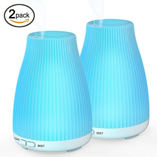 Essential Oil Ultrasonic Aroma Diffuser BAXIA TECHNOLOGY 100ml Cool Mist Humidifier with 8 Color LED Mood Lights for Office and Bedroom(2 PACK)