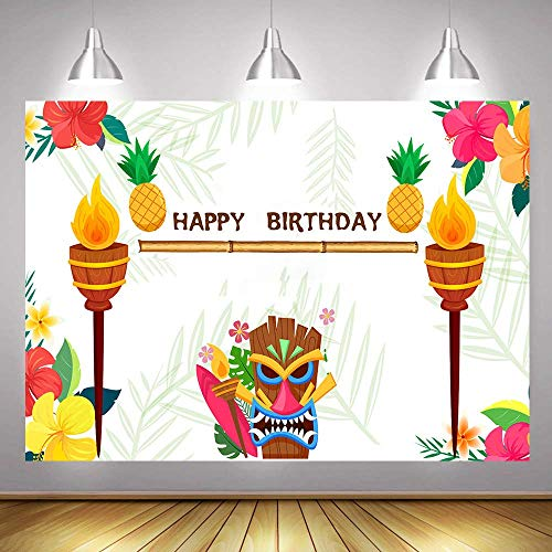 7x5FT Summer Hawaiian Palm Tree Theme Happy Birthday Party Banner Photography Backdrops Cartoon Tiki Tribal Mask Torch Pineapple Photo Background Booth Studio Props Vinyl]()
