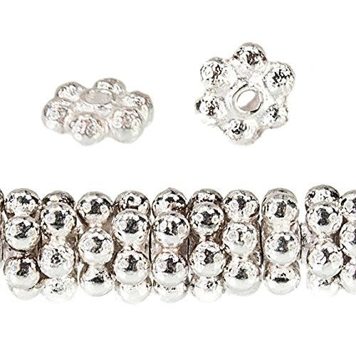Silver Sterling Beads Spacer Daisy - 3mm Sterling Silver Daisy Spacer Beads 80 beads 4 inch