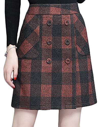 Youhan Women's High Waist Buttons Plaid A-Line Short Skirt (Medium, Brown) -