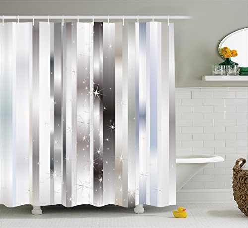 Ambesonne Stripes Shower Curtain, Modern Composition with Vertical Color Bands and Vibrant Star Figures, Fabric Bathroom Decor Set with Hooks, 70 Inches, Gray Black Pale Blue