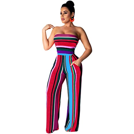 daccbb1bc6efaf Amazon.com: Trendy Womens Jumpsuit Summer Off Shoulder Sleeveless Wide Leg  Bodysuit Casual Strapless Backless Beach Playsuit(Red,XL): Appliances