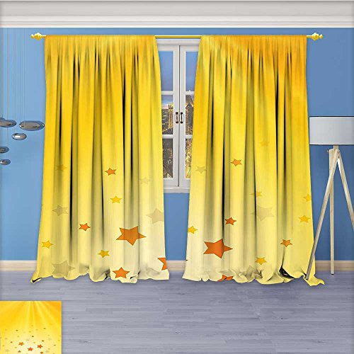 Collection Lab Shine Star (Nalahome Art Curtains Collection,Yellow Bright Reflection of Rising Sun Shine with Star s Sky ation Orange Yellow Window Curtain Set of 2 Panels, Living Room, 120W x 72L inch)