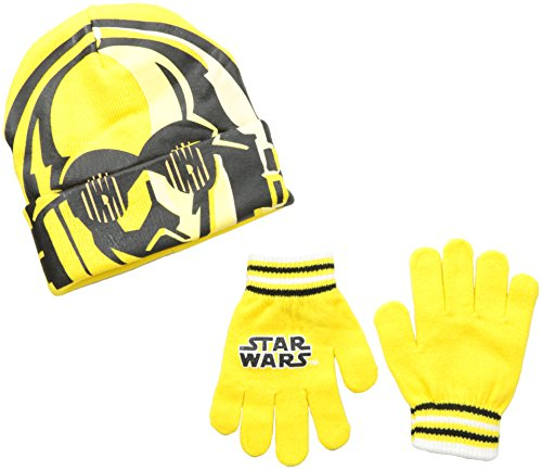 [Star Wars Little Boys' C3Po Flip-Down Mask Beanie and Glove Set, Yellow, One Size] (C3po Mask)