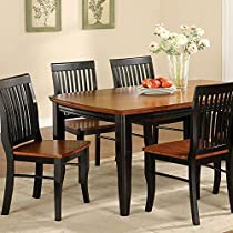 Furniture of America Charleston Mission Style Rectangular Dining Table, Antique Black and Oak