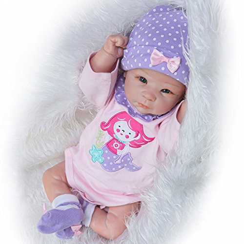 Pursue Baby Half Vinyl Body Lifelike Baby Doll Little Mermaid , 22 Inch Realistic Newborn Baby Girl Doll Anatomically Correct with Pacifier (Paint Doll Reborn)