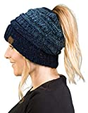 BT-6800-8131 Messy Bun Womens Winter Knit Hat Beanie Tail - Variegated Navy