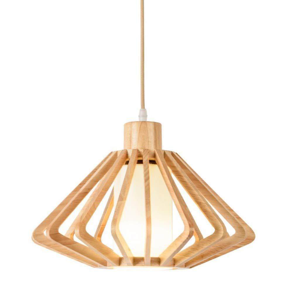 BYDXZ   Luminaire Suspendu en Bois Moderne, Lampes suspendues réglables en Hauteur en Caoutchouc Bois Simple Creux pour Salon Chambre Restaurant E27 X 1 lumière - Blanc Chaud 35x35cm