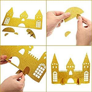 4 Pieces Gold Castle Table Centerpiece Glitter Princess Theme Castle Centerpiece for Birthday Baby Shower Princess Party Table Decorations