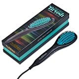 Profashion- Hair Straightener Brush, Ceramic Heating, Anti-Scald, Ionic,-Frizz Control, Turqouise
