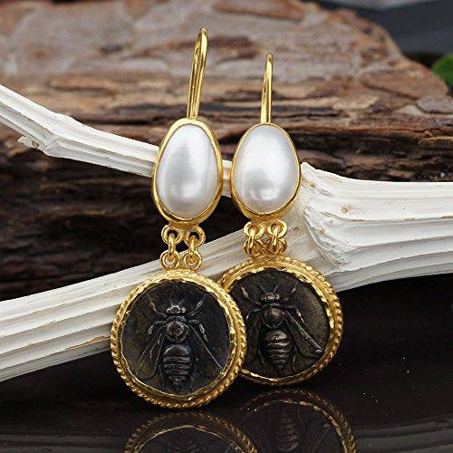 Bee Coin & Pearl Earrings 925 Sterling Silver Roman Art Turkish Jewelry By Omer (Roman Coin Earrings)