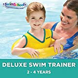 SwimSchool Deluxe TOT Swim Trainer Vest, Inflatable Toddler Swim Float with Adjustable Safety Strap, Heavy Duty, Yellow/Berry