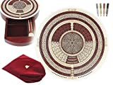 House of Cribbage - 10'' Round Shape 4 Tracks Continuous Cribbage Board Maple / Bloodwood - Push Drawer & place for Skunks, Corners & Won Games