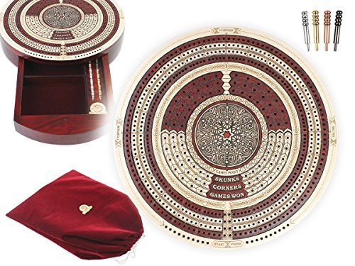 House of Cribbage - 10'' Round Shape 4 Tracks Continuous Cribbage Board Maple / Bloodwood - Push Drawer & place for Skunks, Corners & Won Games by House of Cribbage