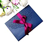 PONATIA 20 PCS 3 Folds 5x7'' Navy Blue Wedding Invitations Cards With Ribbons For Wedding Bridal Shower Engagement Birthday Graduation Invitation Cards (Navy Blue)