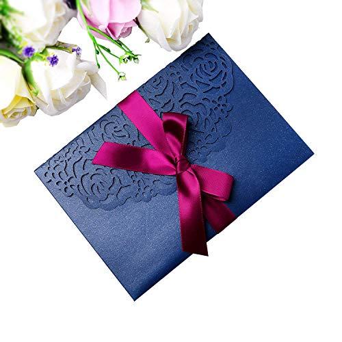 PONATIA 20 PCS 3 Folds 5x7'' Navy Blue Wedding Invitations Cards with Burgundy Ribbons for Wedding Bridal Shower Engagement Birthday Graduation Invitation Cards (Navy -