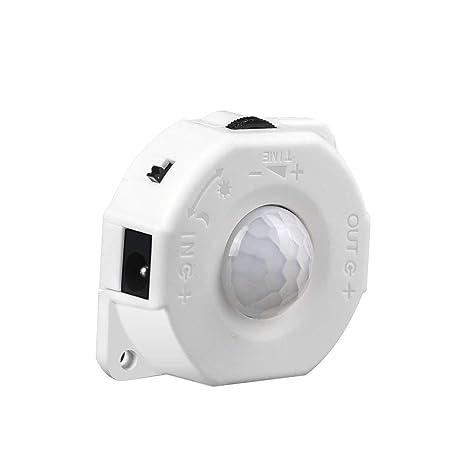 Scientify Interruptor de Sensor Activado por Movimiento PIR, DC 5V-24V 8A Sensor de luz ...