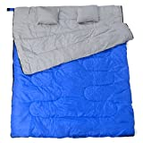 California-Basics-3-4-Season-400GSM-Double-Sleeping-Bag-with-Water-Resistant-Shell-for-Camping-Hiking-Backpacking-and-Outdoors-includes-2-Pillows-and-Compression-Bag-BlueGray