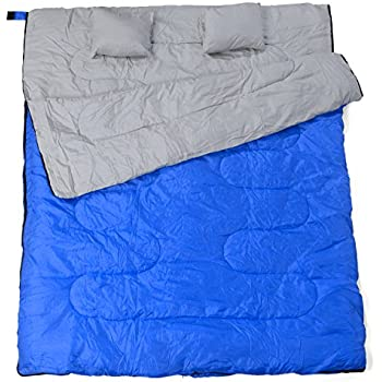 California Basics 3-4 Season 400GSM Double Sleeping Bag with Water-Resistant Shell for Camping, Blue/Gray