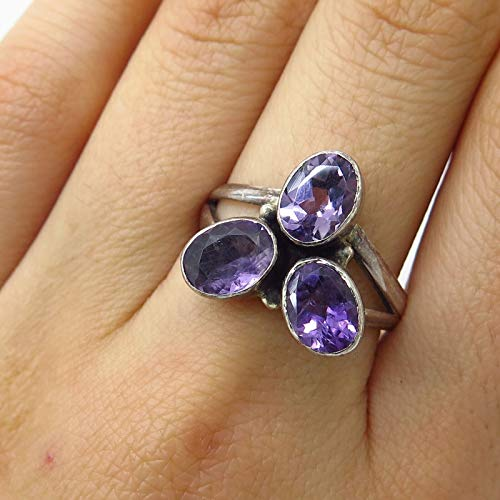 925 Sterling Silver Real Triple Amethyst Gemstone Wide Ring Size 9 Jewelry by Wholesale Charms