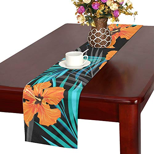 MOVTBA Summer Tropical Hawaiian Sale Background with Palm Table Runner, Kitchen Dining Table Runner 16 X 72 Inch for Dinner Parties, Events, Decor