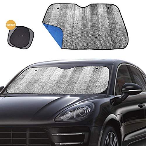 Big Ant Windshield Sun Shade Car Window Sunshade as Bonus,Protect Your Car from Sun Heat & Glare Best Foldable UV Ray Visor Protector Visor Shield Cover Keeps Vehicle Cool-Blue(Size 55