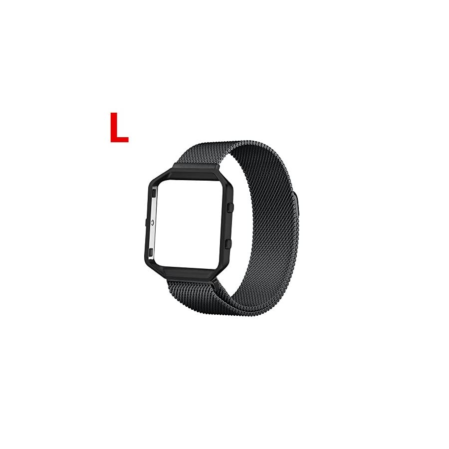 Lwsengme Compatible with Fitbit Blaze Accessories Bands with Frame, Replacement Steel Milanese Magnetic Strap Compatible with Fitbit Blaze Fitness Tracker Small Large