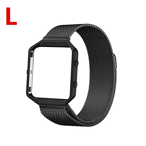 Fitbit Blaze Band,Lwsengme Milanese Loop Watch Band Replacement Stainless Steel Bracelet Strap With Metal Frame for Fitbit Blaze Large and Small