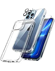 TOCOL 3 in 1 Designed for iPhone 13 Pro 5G Case 6.1 inch - with 2Pcs Tempered Glass Screen Protector + 2Pcs Camera Lens Protector, Yellowing-Proof Military Grade Protection Cover [No. i21P]