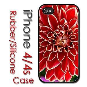 XiFu*MeiiPhone 4 4S Rubber Silicone Case - Beautiful Dahlia Red Flower Bright VibrantXiFu*Mei