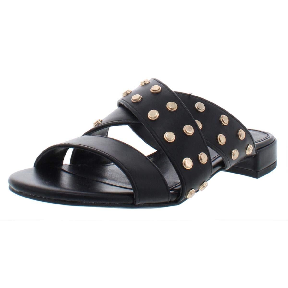 Black BCBGeneration Womens Dana Faux Leather Studded Flats