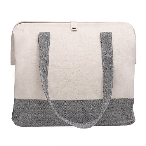 StorageWorks Cotton Large Storage Bag, Foldable Fashionable Organizer, Natural