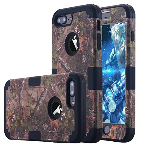 iPhone 7 Plus Case, LONTECT Camouflage Tree Hybrid Heavy Duty Shockproof Case Dual Layer Hard PC+ Soft Silicone Impact Protection for Apple iPhone 7 Plus, Tree Camo/Black