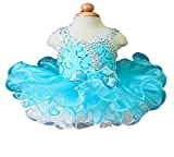 GreenBloom Baby Girls Halter Glitz Mini Cupcake Gowns Pageant Dresses For Toddler 1 Turquoise
