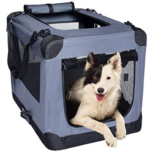 Arf Pets Dog Soft Crate Kennel for Pet Indoor Home & Outdoor Use – Soft Sided 3 Door Folding Travel Carrier with Straps