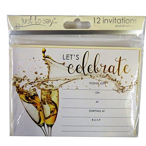 Celebration, Gold Party Invitiation Cards with Cream Envelopes - Pack of 12 - Lets Celebrate Design - Size 5.5' x 3.9'