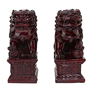 "Feng Shui 4"" Red Fu Foo Dog Guardian Lions Wealth Protection Statue Figurine Housewarming Congratulatory Gift (Red 4"" Foo Dog A10034) ~ We Pay Your Sales Tax"