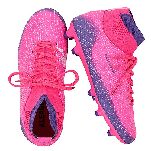 Athletic Soccer Cleats - ALEADER Girls Soccer Shoes Cleats High Top Athletic Filed Football Boots for Training Fushia/Purple 6 M US Big Kid