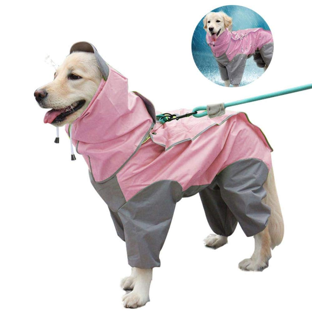 Heboom Dog Jumsuit Raincoat with Hood and Leash Hole Waterproof Windproof 4 Legged Dogs Rain Poncho Clothes for Medium Large Breed Pets Pink L