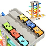 6 Car Ramps Wooden Ramp Racer for Kids - TOP BRIGHT Toys with 6 Wood Racing Car 1 Parking Lot & Extra Bridge