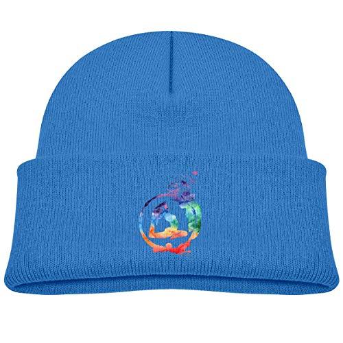 Kids Knitted Beanies Hat Gymnastics It's Good Winter Hat Knitted Skull Cap for Boys Girls Black