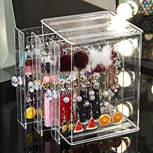 Sooyee Clear 3 Vertical Drawer Earring Display Stand Organizer(Holds 108 Pairs), Jewelry Hanger Storage Box (Renewed)