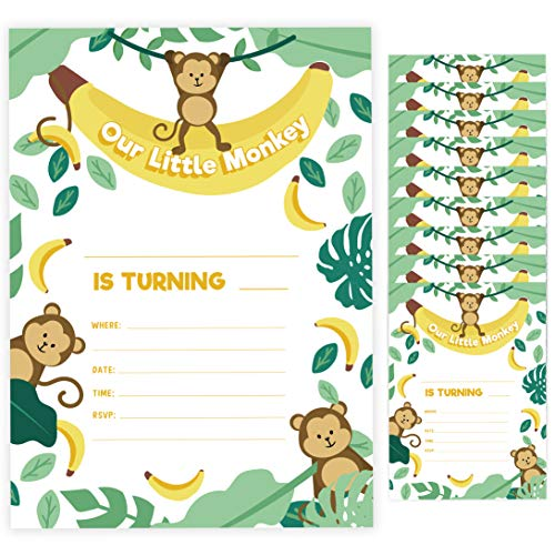Monkey Birthday Party Invitation - Monkey 2 Invitations (25 ct.) Invite Cards Happy Birthday Invitations Invite Cards With Envelopes and Seal Stickers Vinyl Girls Boys Kids Party (25ct)
