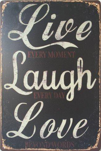 ERLOOD Live Laugh Love Retro Vintage Metal Tin Sign 12