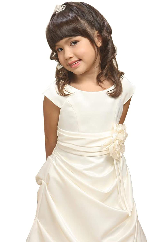 Amazon.com: KID Collection Big Girls\' Satin Flower Girl Communion ...