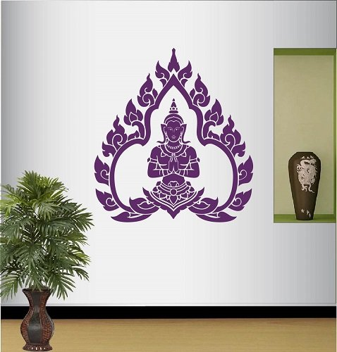 Wall Vinyl Decal Home Decor Art Sticker Thai Dancer Meditation Pose Buddha Room Removable Stylish Mural Unique Design 477 by In-Style Decals