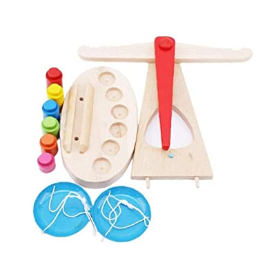 Children's Funny Wooden Scale Montessori Educational Toy Weighing Scale Sensorial Preschool Toys Preschool Training Toys (Random Color) : Baby