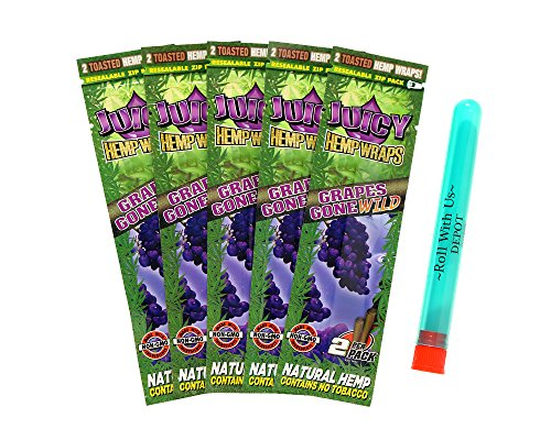 Juicy Hemp Wraps Grapes Gone Wild (5 Packs, 2 Wraps Per Pack) Includes Roll With Us Doobtube (Juicy (Juicy Cigar Wraps)