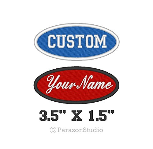 Custom Embroidered Name Tag Oval Patch Motorcycle Biker 1 Line 3.5
